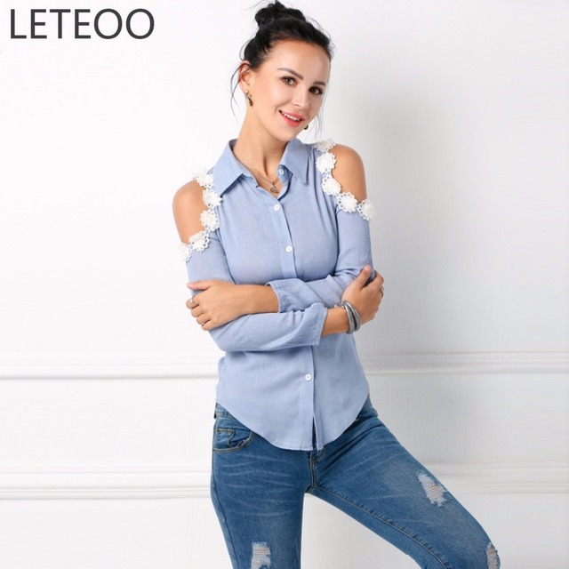 2017 Fashion Off Shoulder Denim Lace Flower Blouse Shirt Women Long Sleeve Floral Embroidered Top Sexy Female Blue Clothing L30