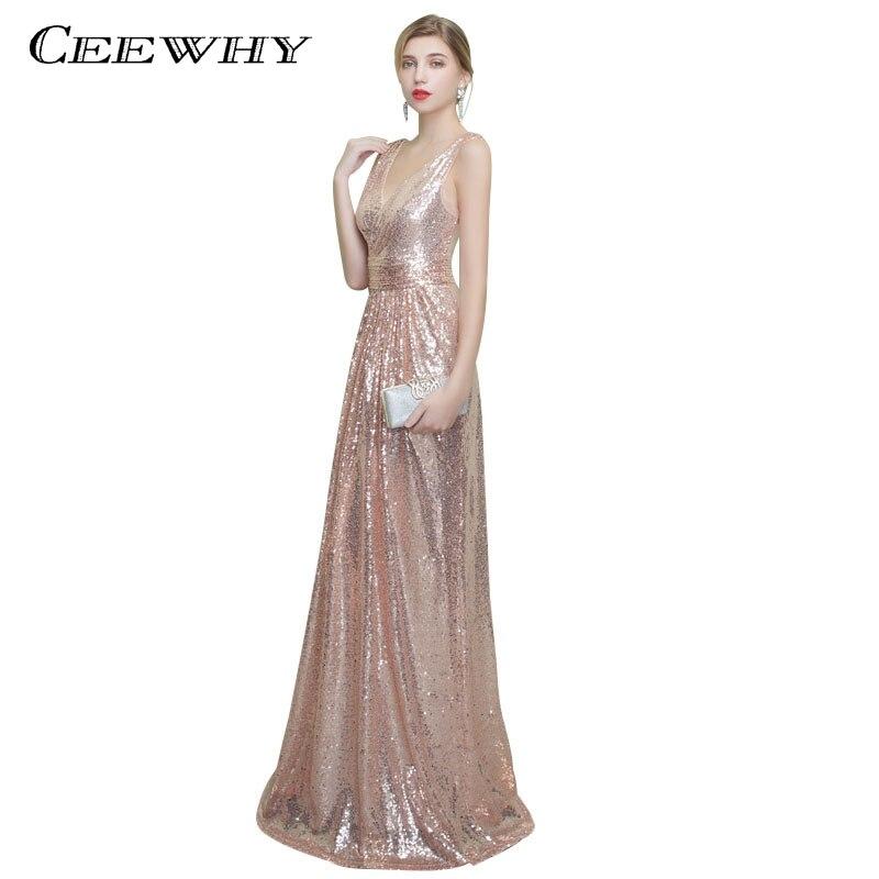 cef92852a18 Ceewhy Sexy v-образным вырезом элегантные вечерние Вечерние платья Vestido  De Festa блестками Формальное Русалка