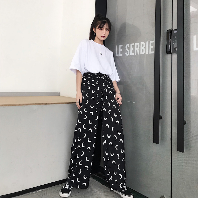 Women Gothic Moon Printed   Wide     Leg     Pants   2019 New Ins Popular Streetwear Casual High Elastic Waist Loose Trousers Women