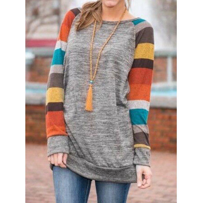 CALOFE Patchwork Striped T-shirts Women Long Sleeve Casual Basic Top Tees Autumn Winter Vintage Plus Size Tshirts Female 2019