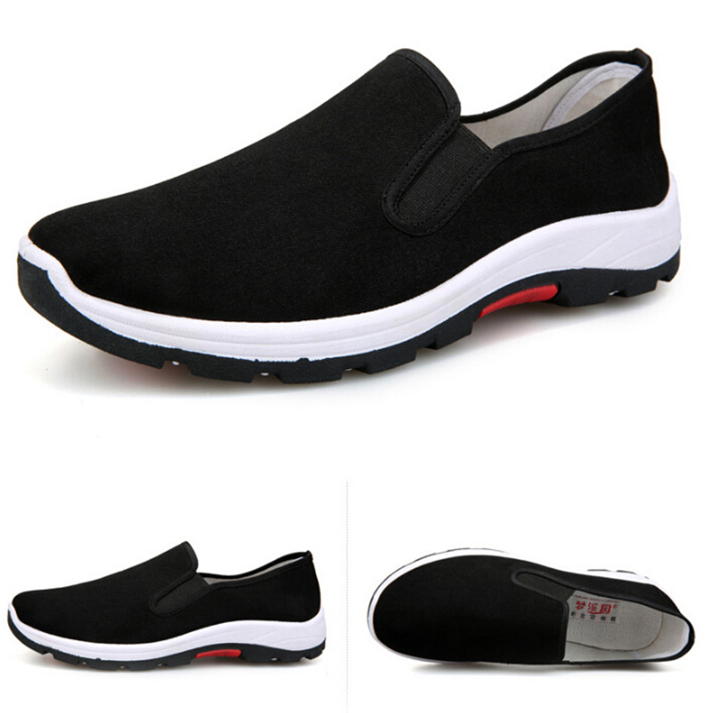Casuales Fibra Zapatos Hombres Mocasines En Paño Deslizamiento Respirable Vulcanizados 1 Par Negro BZxYq