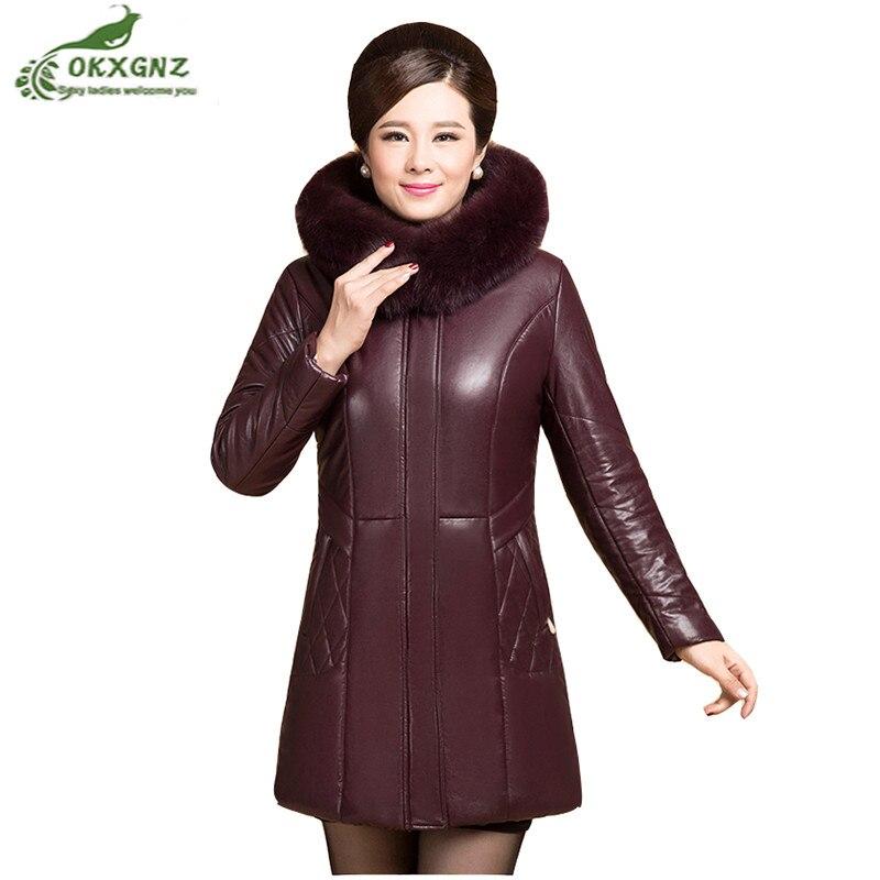 Winter new middle-aged women   leather   Outerwear middle-length thickening jacket coat women Plus size warm Down cotton coat OKXGNZ