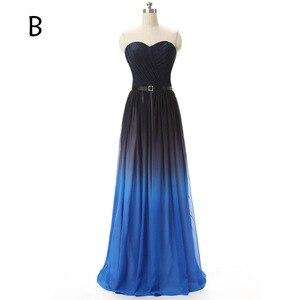 Image 2 - Gradient Ombre Prom Dresses Gradient Gala Dress Sexy Strapless Long Evening Gowns Rainbow Pleated Chiffon vestidos de formatura