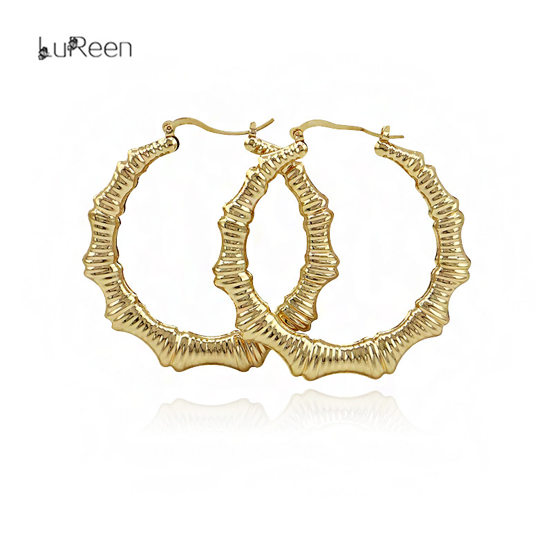 LuReen Punk Rose Gold Big Bamboo Hoop Earring Large Basketball Wives Round Circle Statement Earring Nightclub Jewelry LE0085