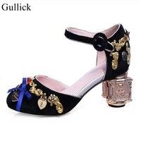 Национальный стиль из металла Каблучки туфли лодочки с завязками на лодыжках бабочкой цветок velevt Коренастый туфли лодочки на каблуке кругл