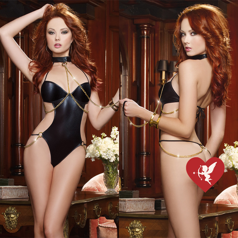 Women's Black Sexy Faux Leather Backless Hot Stamping Teddies Costume For  Clubwear Stripper Party Fancy Dress Free Size