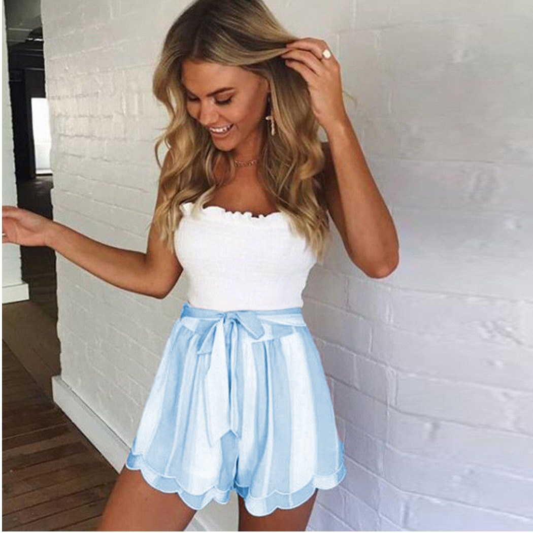 2019 Summer Drawstring Sexy Wide Leg Shorts Sashes Women Lace Up Bow Striped Shorts Casual Double Layer Print Shorts