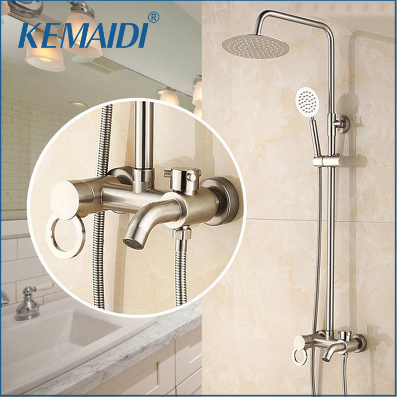 KEMAIDI Good Quality Wholesale And Retail Luxury Chrome Finish Rain Shower Faucet Set Valve W/ Hand Sprayer Nickel Brushed sognare new wall mounted bathroom bath shower faucet with handheld shower head chrome finish shower faucet set mixer tap d5205