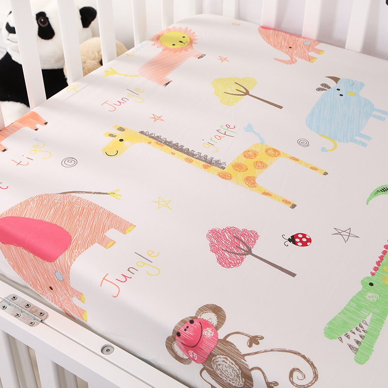 Customize baby kids bed sheet crib mattress cover bedding set cartoon parteen fitted crib sheet for girls boys (3)