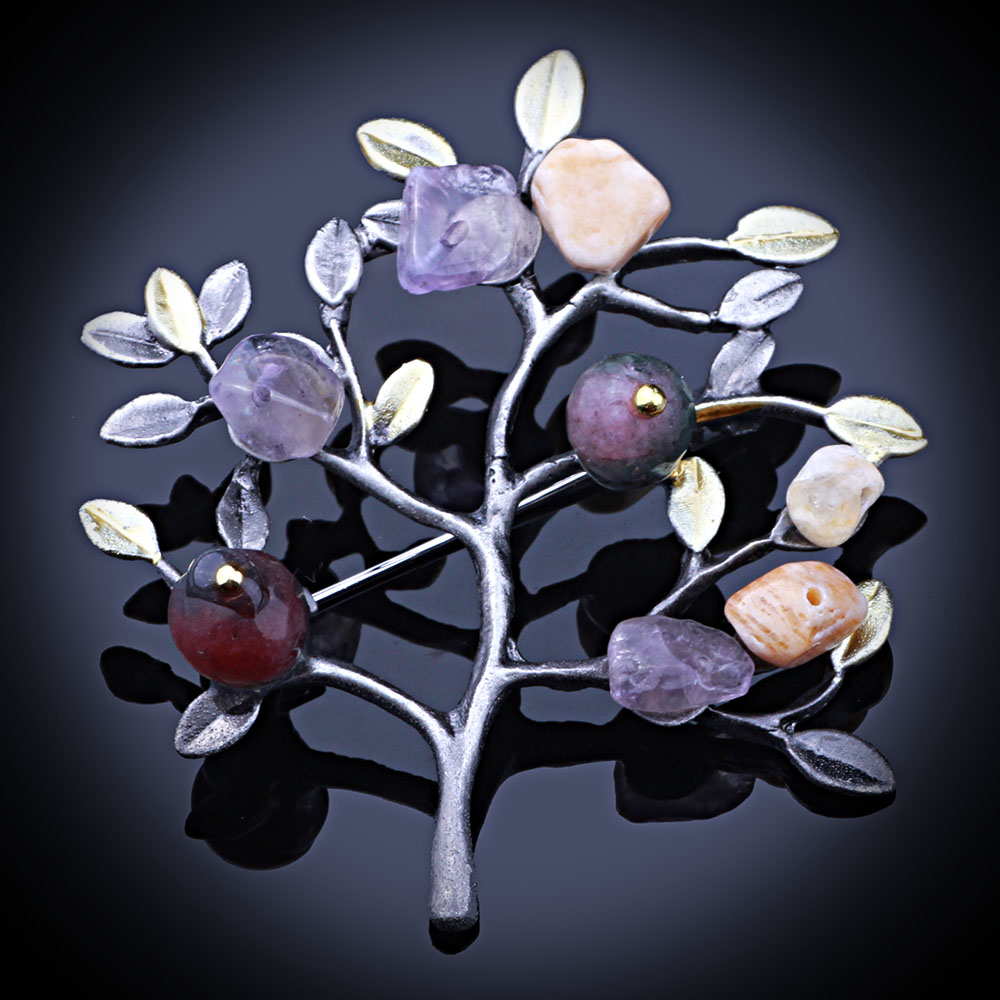VVintage Country Style Natural Stone Bouquet Safety Pin Brooches Womens Fashion Dress Accessories
