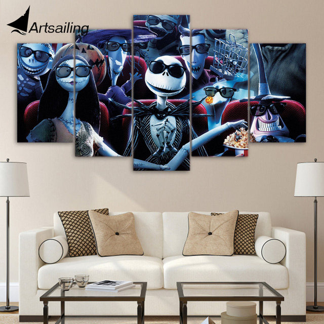 Artsailing 5 Piece Hd Printed Nightmare Before Christmas Painting