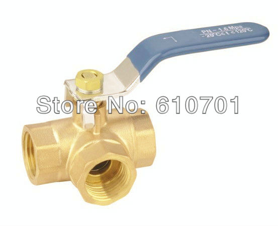 L Type L-Port DN50 2BSPP Female Connection Full Ports Brass Tee Ball Valve Three Way Pipe Fittings Handle Locking Leakproof female to female f f 1 2 pt threaded yellow lever handle brass ball valve