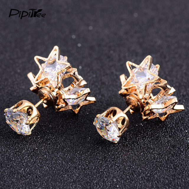 Pipitree Luxury Sparkling Cubic Zirconia Star Earrings Brand Jewelry Gold Color Double Side Crystal Stud