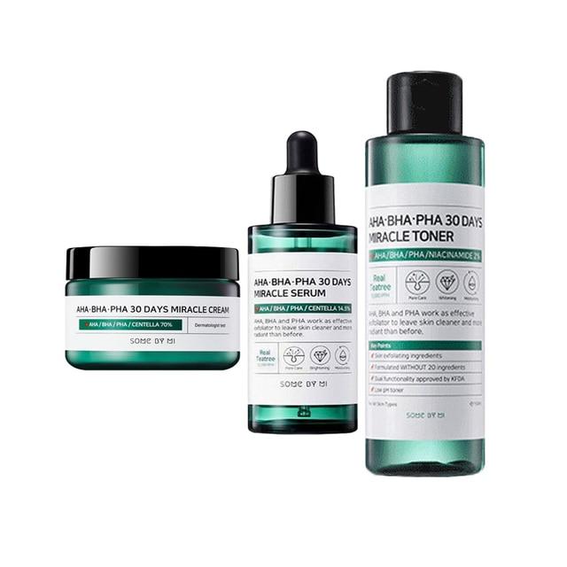 SOME BY MI AHA BHA PHA 30 Days Miracle Toner 150ml + Miracle Serum 50ml + Miracle Cream 50ml Blackheads Remove Acne Treatment 1