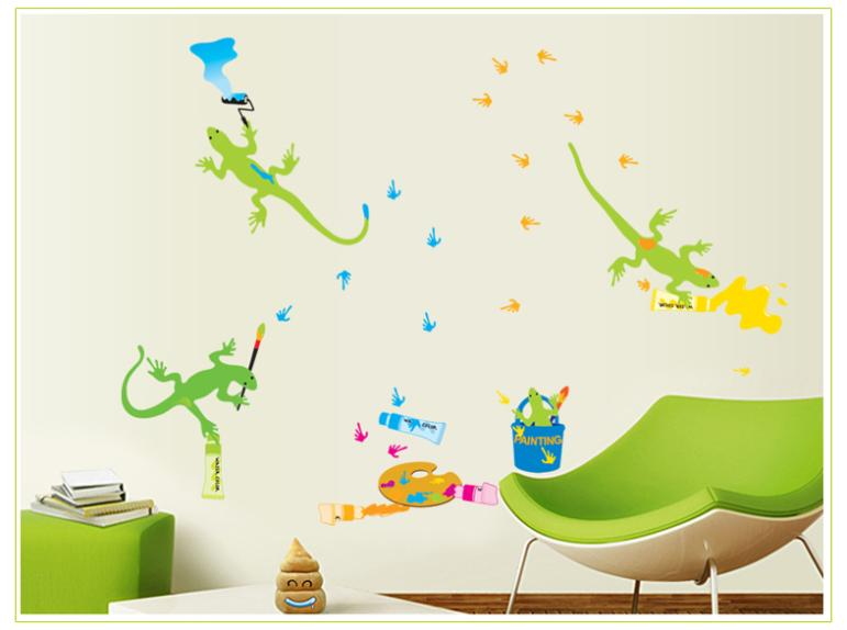 Cartoon Gecko Stroll Children room for boys bedroom wall stickers PVC environmental protection stickers in Wall Stickers from Home Garden