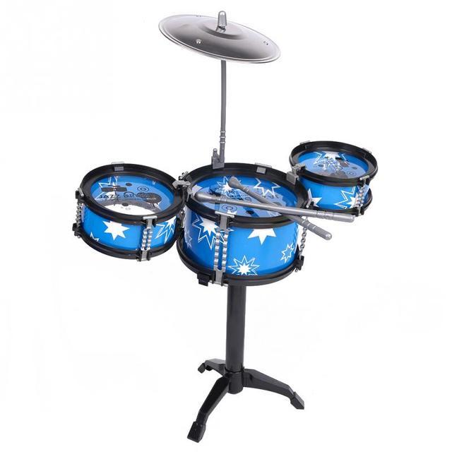 Nueva DIY niño de los cabritos de Jazz tambor conjunto de Rock música regalo de cumpleaños juguetes educativos azul