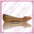 Aidocrystal Señoras Zapatos hechos a mano de Las Mujeres Zapatos de Los Planos de oro de cristal Zapatos planos Ocasionales del envío libre