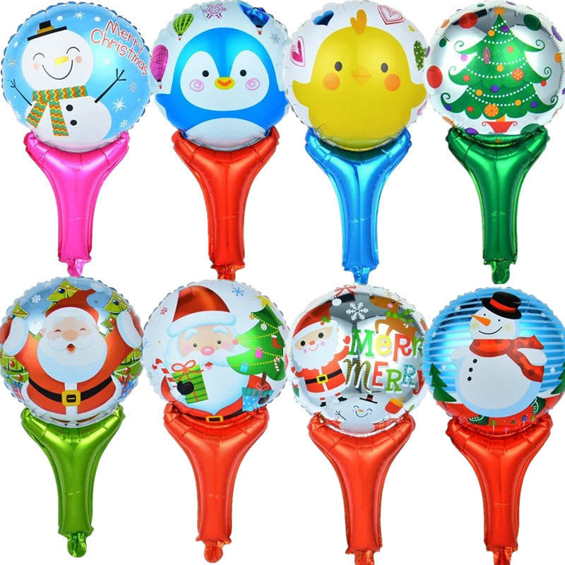 Hand Holding Christmas Cheap Balloons Small Air Balloons Christmas Tree Santa Claus Mini Foil Balloon Christmas Decoration