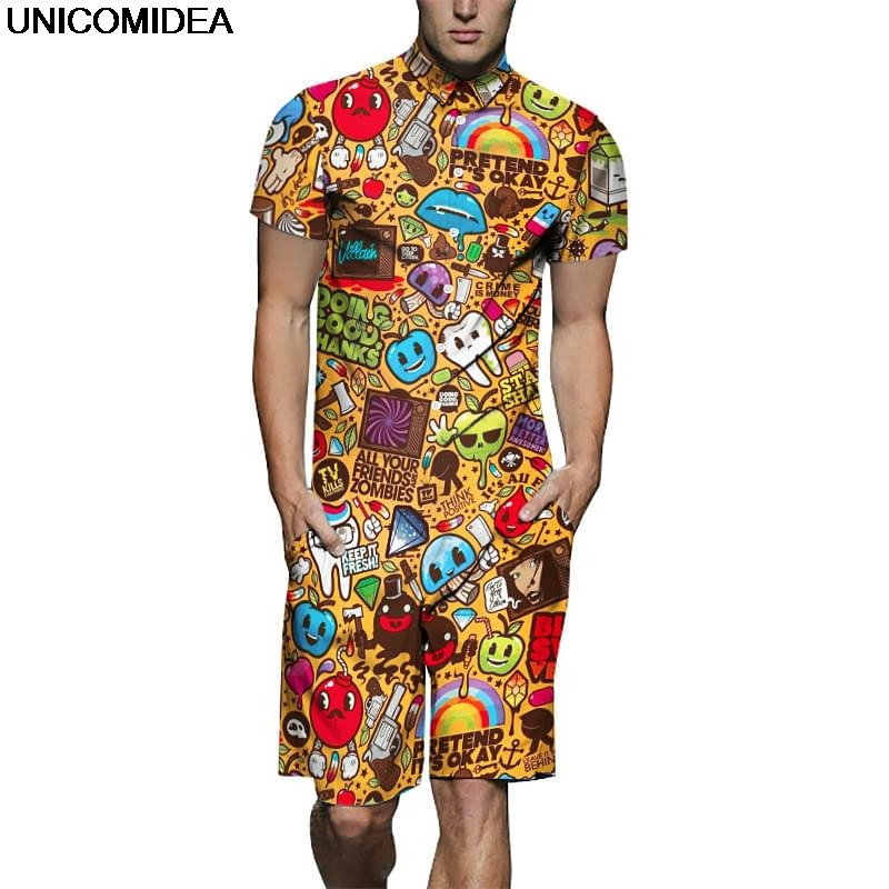 Men's Sets China Traditional Dragon Gold Men Rompers 3d Jumpsuit Playsuit Harajuku Overalls One Piece Jumpsuit Hawaiian Shirts Mens Sets