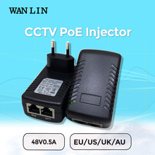 WAN LIN  PoE Injector DC 48V 0.5A PoE Switch Ethernet CCTV Power Adapter EU UK US Plug for PoE IP Camera