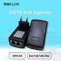 WAN LIN DC48V 0 5A PoE Injector PoE Switch Ethernet CCTV Power Adapter EU UK US