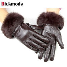 sheepskin leather gloves women's rabbit fur thick velvet lining autumn and winter warm lady points leather gloves free shipping
