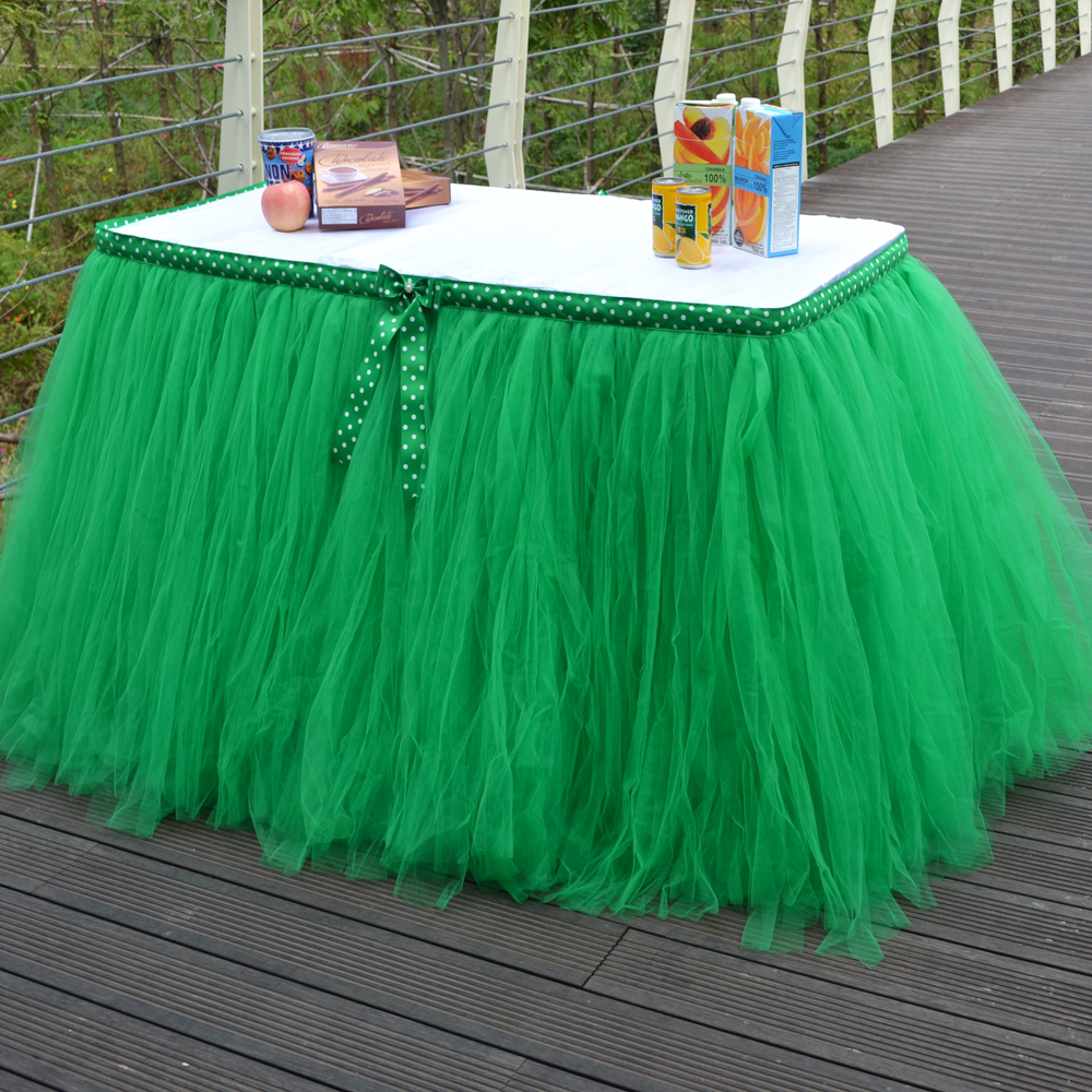 Buffet table skirting - Tulle Tutu Table Skirt 100 Nylon Green Table Skirt 31 5 Inch Height Customized Cloth Table