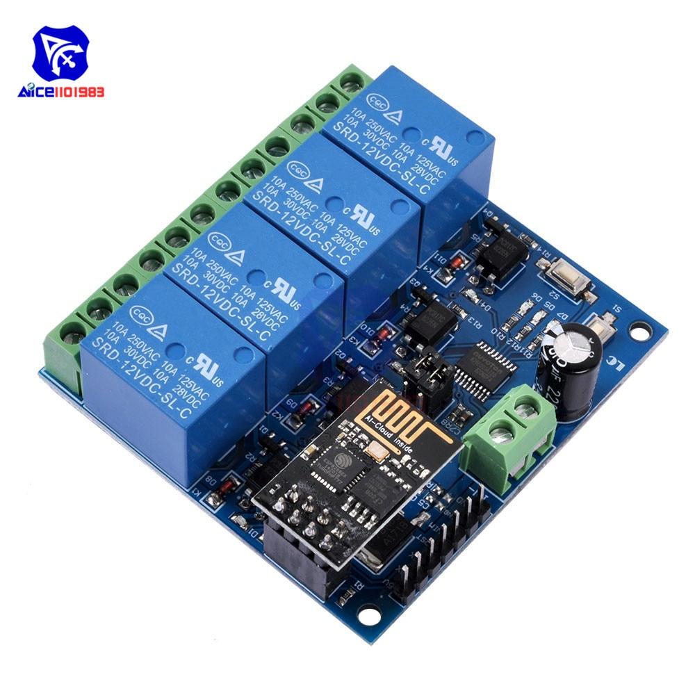 Dc 12 v esp8266 módulo de relé de quatro canais & ESP-01 módulo wi-fi para casa inteligente móveis 4 canais módulo relé wi-fi