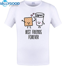 d28521082f Best Friends Forever Cool Design T-Shirt Cookie Milk Funny Print unisex  Summer Short Sleeve