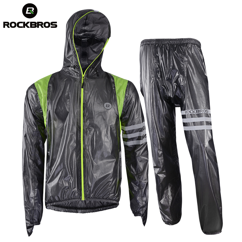 Rockbros Sportswear Raincoat Cycling Set Rainproof Cycling Clothing Bike Jersey Rain Jacket Men Women Bicycle Pants Reflective стоимость