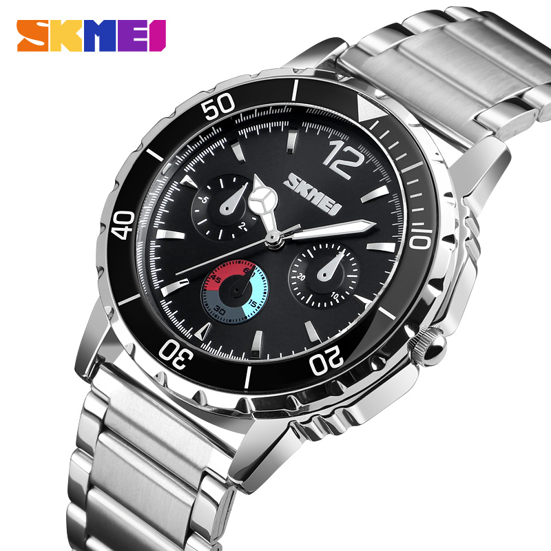 SKMEI Outdoor Sport Watch Men Luxury Fashion Quartz Wristwatch Waterproof Stainless Steel Wristband Quartz Watches Reloj Mujer