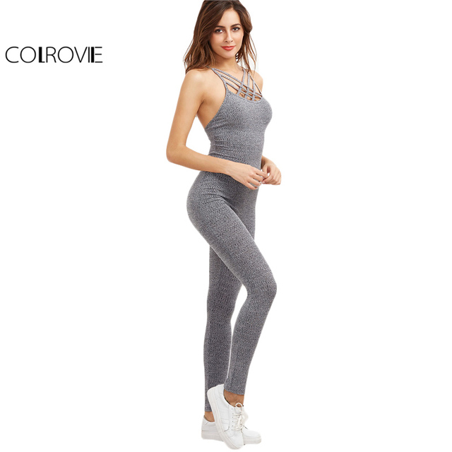 f65a7abdd1d COLROVIE Grey Marled Ribbed Jumpsuit Cage Neck Sexy Skinny Women Casual Knit  Jumpsuits Fall Cross Strappy Basic Jumpsuit