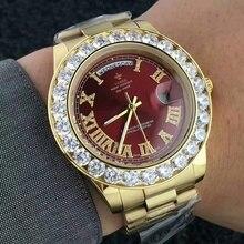 c8b8ad4a528 Grande Diamante Relógio De Ouro Dos Homens de Aço Inoxidável Marca de Luxo  day-date Presidente Top Masculino Relógio dos homens .