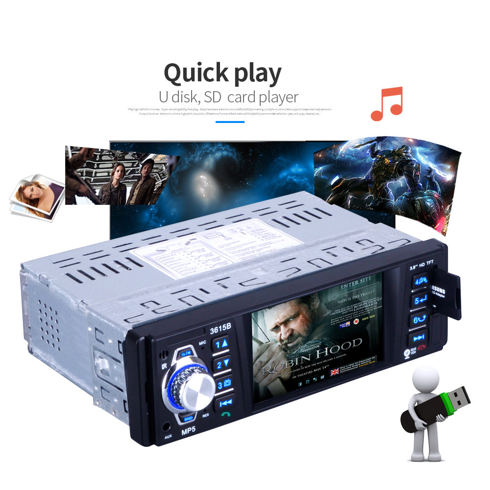 Car Radio MP5 Player Stereo Auto Audio 3.9 inch 1 Din FM Bluetooth 12v Support Rear View Camera USB FM MP4 USB SD TF Auto Radio