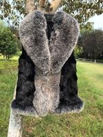 Женские черные реального норки Меховая куртка Silver Fox меховой воротник стриженая норка жилет Silver Fox меховой жилет без рукавов куртки Плюс Раз
