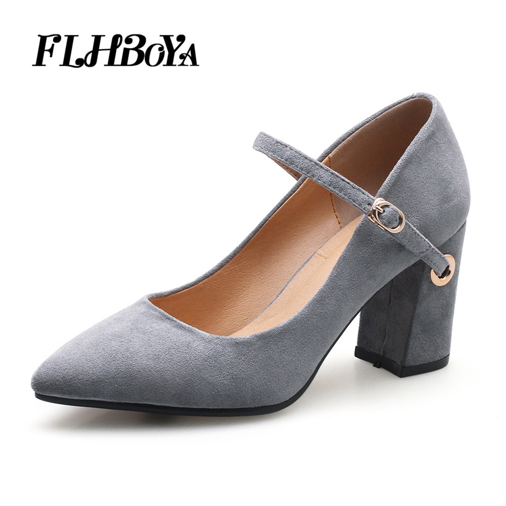 c85dfca3bd1d3 US $62.85 |Women Fashion Square heel Pumps Gray Flock Summer Mary Janes  Shoes Ankle Strap Middle High Heels Quality Pointed Toe Casual Pump-in  Women's ...