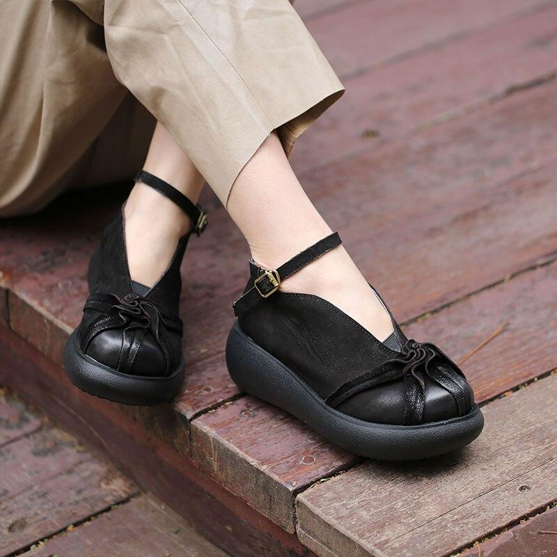 VALLU 2018 véritable cuir femmes appartements plate forme bout rond cheville sangle à la main Vintage femmes chaussures plates-in Chaussures plates femme from Chaussures    2