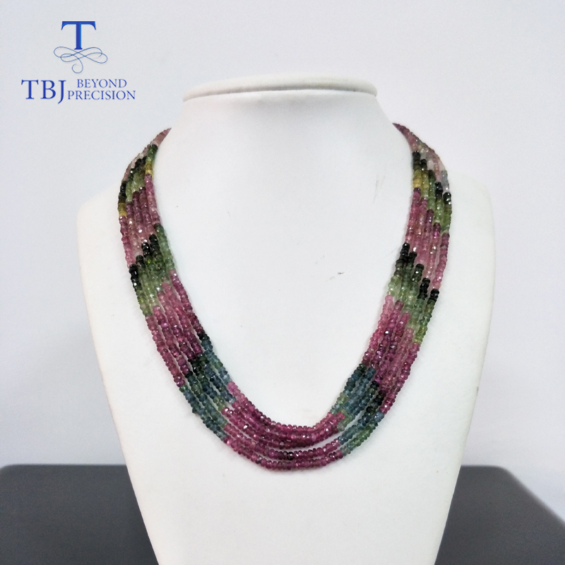 TBJ ,100% Natural Fancy Color Tourmaline Gemstone Bead Necklace With 925 Silver Clasp,luxury Big Size