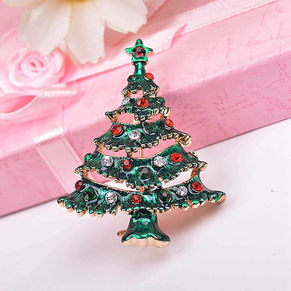Metal christmas ornament tree - Brand Christmas Tree Brooches For Women New Retro Rhinestone Brooch Lapel Pin Femme Crystal Broche Fine
