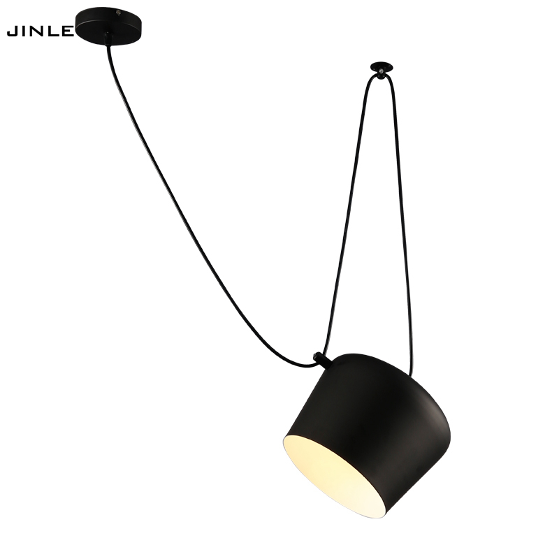 Modern simple LED creative pendant lamp restaurant cafes lights stores LED lamps balck white aluminium snare drum pendant lights personality simple modern led creative aluminium pendant lamps cover room restaurant bar study taipei europe lamp pendant lights