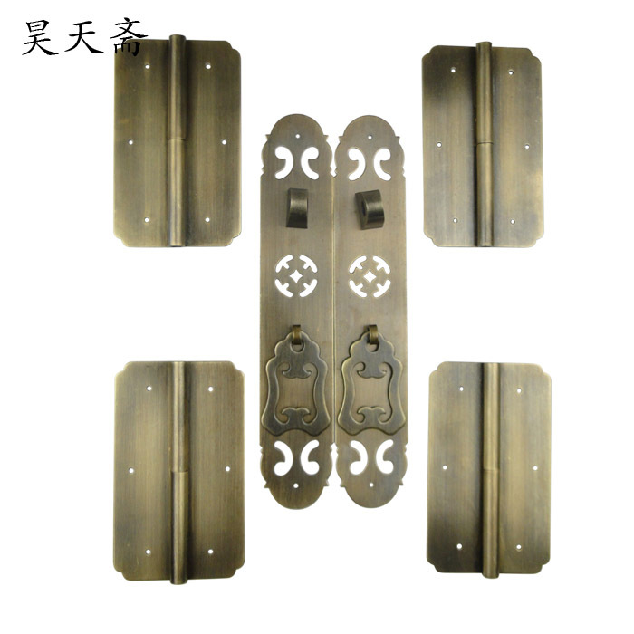 [Haotian vegetarian shoe] new classical Chinese antique bookcase bookcase cupboard door handle large suite coins money european modern bronze doors handle chinese antique glass door handle door handle carving