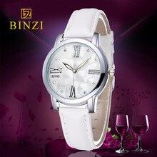 Новые женские Часы Люксовый Бренд BINZI Женские Кожаные часы Кварцевые Часы Моды Случайные Дамы Платье Наручные Часы Relogio Feminino