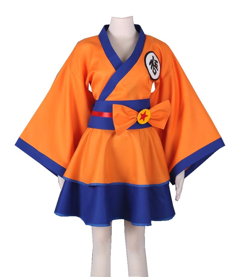 Dragon Ball Kakarotto Costumes Dragon Ball lolita Skirts Lolita kimono dress Son Goku Cosplay Halloween ladies party uniform