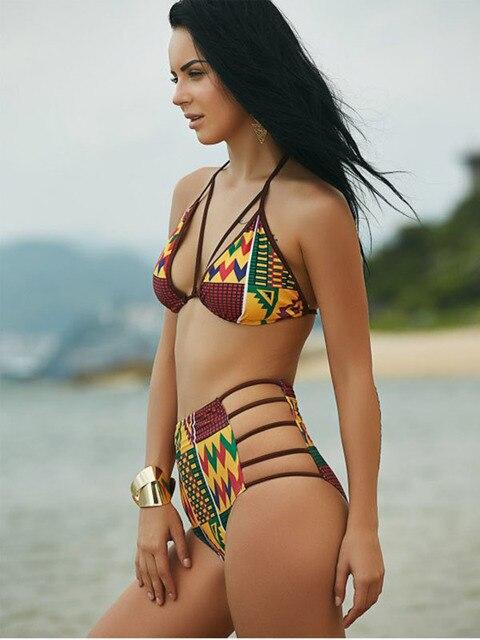 df2c003365 2017 New Brazilian Swimwear Women Sexy Halter Bandage Bikinis Two piece  suit Digital Tribal Print Swimsuit High Waist Beachwear