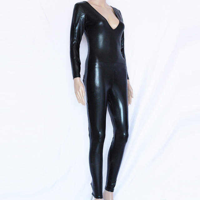 4d5752d33f62 Online Shop Wonder beauty PVC Faux Leather Wet Look Catsuit Rompers Lace Up  Steampunk Costume Vinyl Sexy Hollow Out Club Jumpsuit Costume