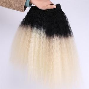 Image 3 - REYNA Kinky Straight hair extension 3 stuks een set hoge temperatuur synthetisch haar bundels voor vrouwen
