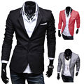 KSFS New Stylish Men's Casual Slim Fit Two Button Suit Blazer Coat Leisure Jacket Tops 3 Colors US size XS-L