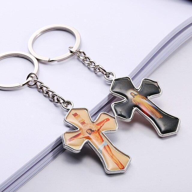 10pcs lot wholesale bulk price cross pendant keychain for car keys Men s  Women s charms jewelry cad9d476e6