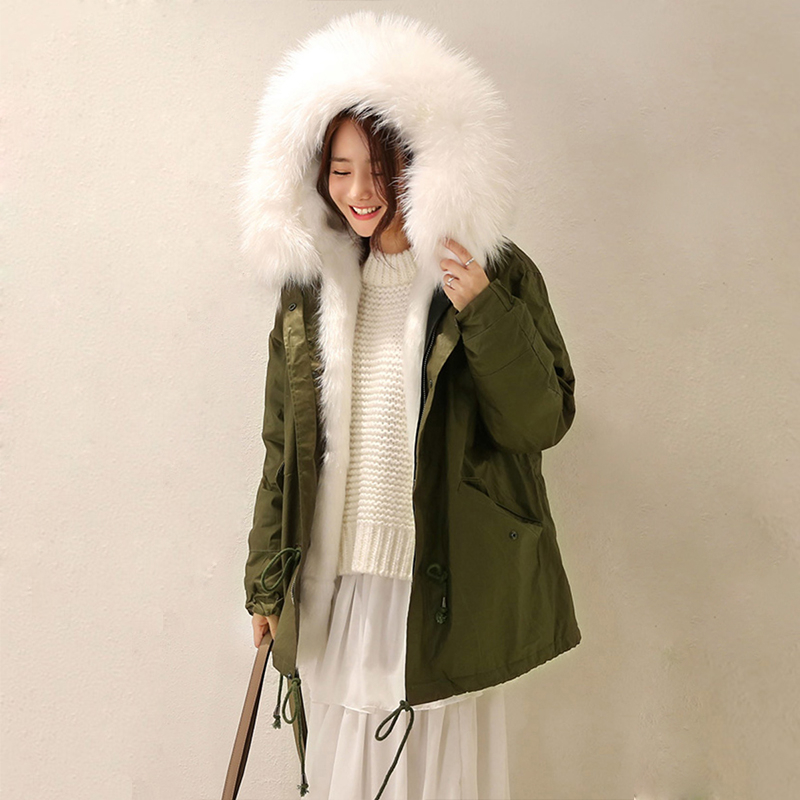 2017 New Women Winter Army Green Jacket Coats Thick Parkas Real Raccoon Fur Collar Hooded Outwear CC308