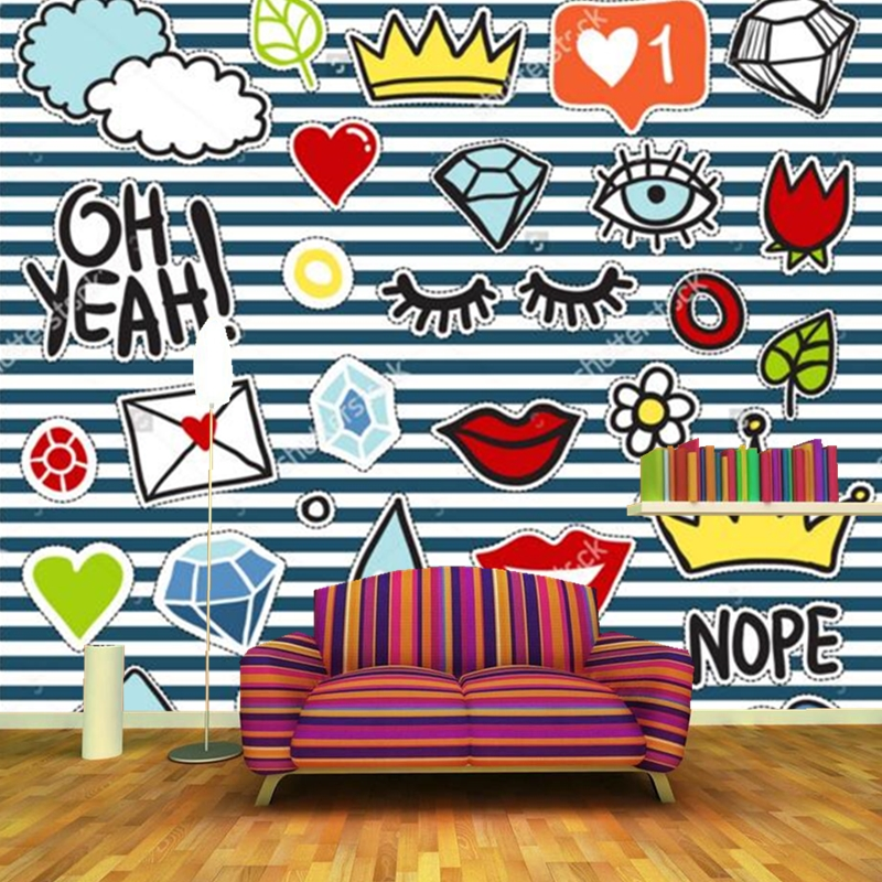 Fashion element mural cute cartoon graffiti wallpaper for Element mural tv